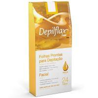 Depilflax 24 Folhas Prontas para Depilação Facial - Natural